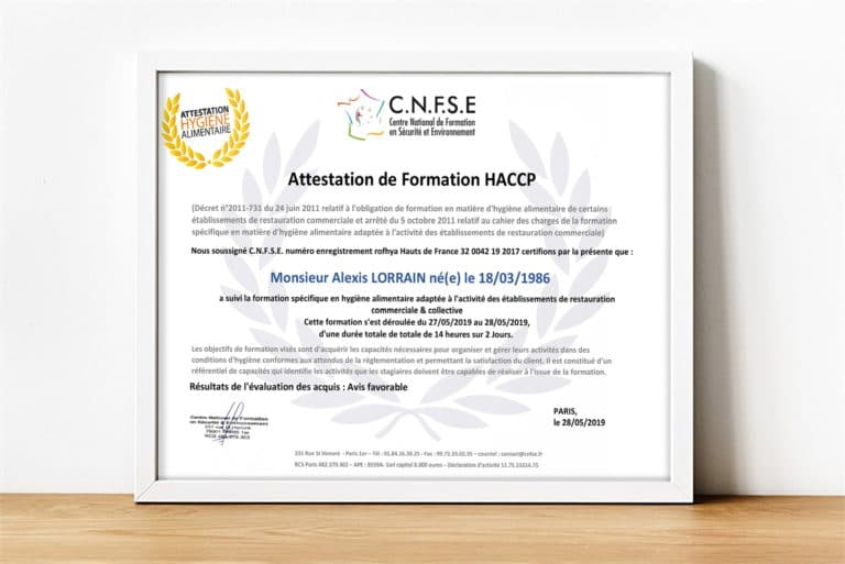 Attestation formation HACCP